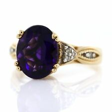 14K Yellow Gold Oval Royal Amethyst Solitaire Diamond Scroll Cocktail Ring 7 VTG