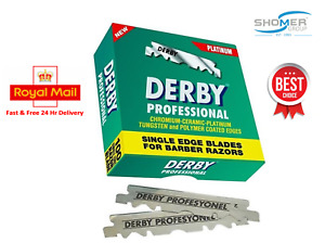 DERBY PROFESSIONAL PREMIUM SINGLE EDGE RAZOR BLADES BARBER STRAIGHT THROAT CUT U