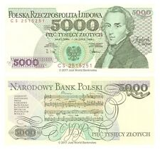 Poland 5000 (5,000) Zlotych 1988 Chopin P-150c Banknotes UNC