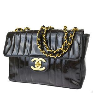 Auth CHANEL CC Mademoiselle 30 Chain Shoulder Bag Patent Leather Black 693LB398