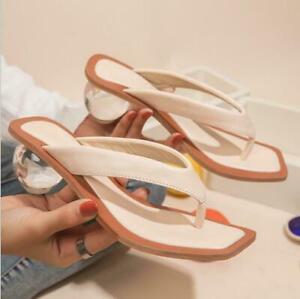 Women's Transparent Pvc Slipper Crystal Ball Low Heel Peep Toe Flip Flops Sandal