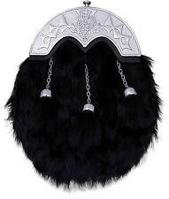 pour hommes écossais KILT SPORRAN Costume complet noir lapin CHARDON/kilt