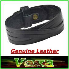 NEW SURFER Men's Bracelet Black Genuine Leather Bangle Wristband unisex UK BR30