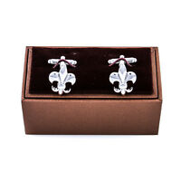 Fleur-de-lys Pair Cufflinks Silver Classic Wedding Gift Box & Polishing Cloth