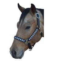 Intrepid International NEW Leather Crown Diamond Pattern Nylon Web Halter
