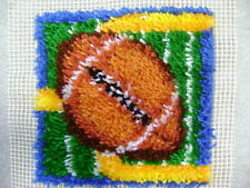 Caron Lot of 2 Football Rug latch Hook Kit+ Finished piece pillows Wall Hanging