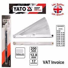 Yato Professional Metric Feeler Gauge 17 Blades 200mm Taper 0.02-1mm Measure Gap