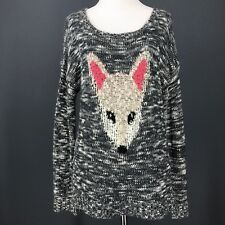 FOX Sweater L Gray Tunic Marled Scoop Neck Novelty Space Dye PINK ROSE