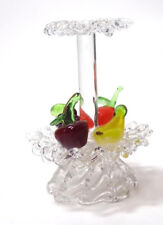 Miniature Doll House Spun Glass 2 Tier Centerpiece with Fruit