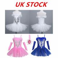 UK Girls Ballet Ballerina Dance Dress Kids Leotard Tutu Skirt Dancewear Costume