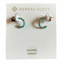 Kendra Scott Scarlet Huggie Hoop Earrings Pouch RTL Turquoise Magnesite