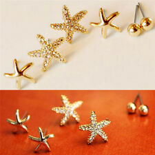 3 Pairs/pack Bright Starfish Shaped Earrings For Women Ear Stud Earings Jewelry