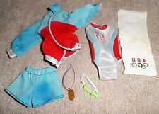 BARBIE DOLL CLOTHES - 1996 OLYMPIC SWIMMER SWIMSUIT UNIFORM w/ MEDAL, TOWEL, BAG