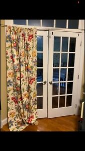 """Pair Custom Lined Drapes Curtains Panel 50""""x90"""" Floral, Pink, Green, Yellow"""