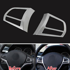 2x Car Chrome Steering Wheel Buttons Cover Trim For 3 Series F30 F35 316i 320Li