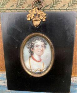 Fine19th Cen. Folk Art Watercolor Portrait Miniature Woman With Coral Beads