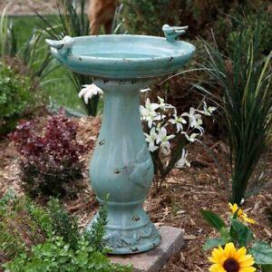 Ceramic Antique Light Turquoise Garden Yard Birdbath with Two Birds
