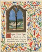 VINTAGE CHRISTMAS STAR BETHLEHEM SHEEP SHEPHERDS SCROLL DESIGN GREETING ART CARD