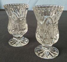 Vintage Pressed Glass Lead Crystal Footed Vases Pair