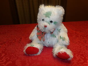 "HTF 13"" Retired 2005 Punkies Ty SANTA CLAWS Plush Bear ribbon Evergreen Trees *"
