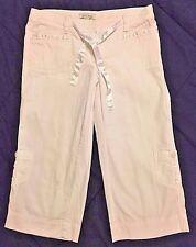 WHITE HOUSE BLACK MARKET Womens White Capri Summer Pants Silk Ribbon Tie Sz 4