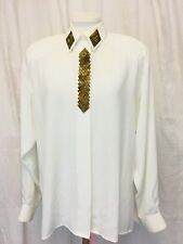 Vintage 1980's Bead Embroidered Secretary Blouse. White. Women's. Large.