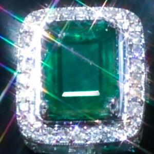 Emerald Earrings 14K GOLD 14.09ct Emerald Diamond STUD Solitaire Earrings HUGE ↩