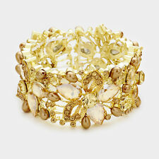 Elegant Bridal Formal Gold Colorado Topaz Crystal Pearl Stretch Bangle Bracelet