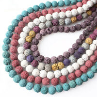50pcs/bunch Volcano Lava Stone Beads Round Loose Natural DIY Necklace Jewelry