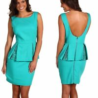Kimberly Goldson Ani Women's Evening Dress Ocean Green Deep Scoop Back Size 2