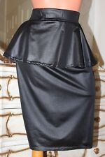 Black shiny elasticated pencil skirt with frill - size 16