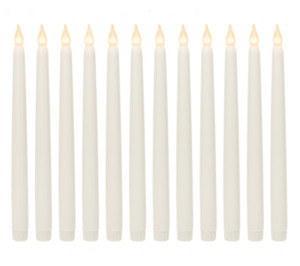"""Realistic Looking Faux Wax Flameless Taper LED Candle 12 Pack 11""""Inch Tall Ivory"""