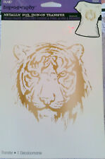 Plaid Iron On Metallic Foil Tiger approx 6 inches B53