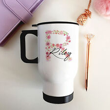 Personalised Insulated Floral Initial Stainless Steel Travel Mug