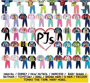 Official Girls Boys Kids Toddlers Baby Pyjama Set PJs Character Nighty Nightwear