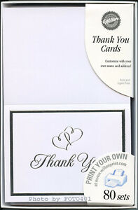 "160 Wilton Wedding White Thank You Cards ""Sweet Hearts""  Print Your Own `"