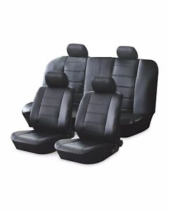 UNIVERSAL Black Leather Look CAR Seat Covers FULL SET FRONT + REAR + HEADRESTS