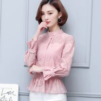 Lady Floral Lace Mesh Shirt Peplum Top Stand Collar Long Sleeve Button Down Slim