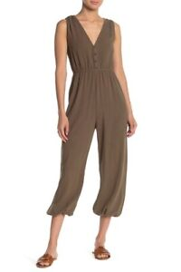 New MUSTARD SEED Womens Size M Sleeveless Jumpsuit Olive Green S14001 NWOT