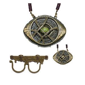 Cosplay 1:1 Doctor Strange Ring & Necklace Eye of Agamotto Pendant Handmade Prop