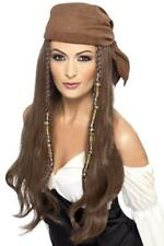 ADULTS BROWN PIRATE WIG WITH BANDANA BEADS CHARMS CAPTAIN FANCY DRESS HEADPIECE