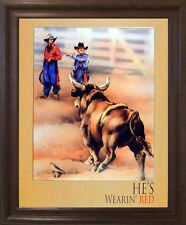 Western Rodeo Cowboy Bull Clown Wall Decor Brown Rust Framed Art Print Picture