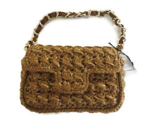BNWT Caterina Bertini Tan Woven Shoulder Bag Purse Gold Chain Made in Italy
