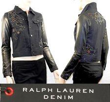 """$1,995 POLO Ralph Lauren sz 2 (33"""" Bust) Leather Sleeve Studded Denim Jacket NWT"""