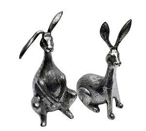 Large Vintage Rabbit Pair Metal Big Bunnies Figurine Statue 29 cm