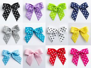 5cm Polka Dot Bows - Grosgrain Self Adhesive Pre Tied 16mm Ribbon 1, 6/12 Pack