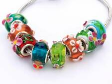 10pcs Mixed Flower Big Hole Beads Murano Lampwork Glass Charm European Bracelet