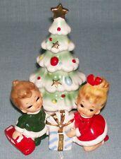 Vintage Josef Originals Christmas Tree Little Girl & Boy w/ Car Figurine RARE