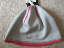 Womens Nike Grey Pink Warm Therma Fit Warm Beanie Hat One Size Nwt