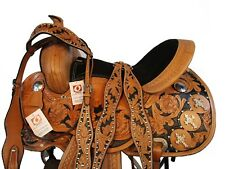 15 16 BARREL RACING PLEASURE SHOW BROWN LEATHER WESTERN HORSE SADDLE SET